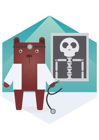 x xray: bear cartoon doctor Illustration