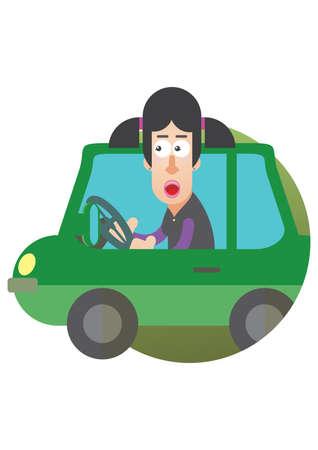 woman driving car: woman driving a car
