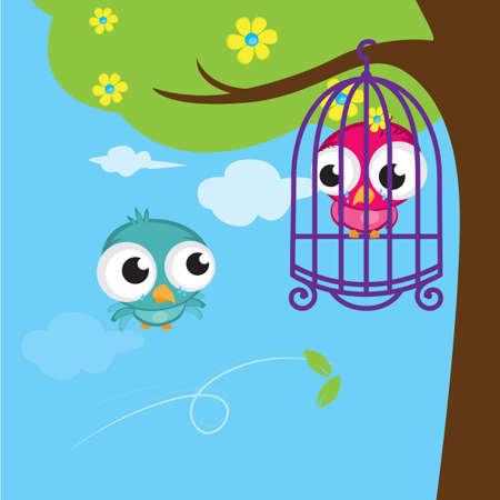 captured: bird captured in cage Illustration