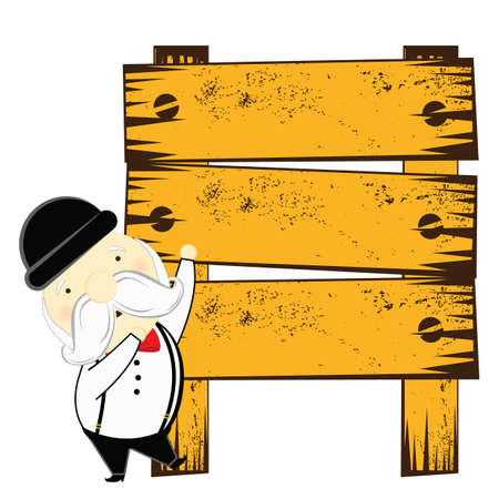 old man standing: old man standing at a wooden board