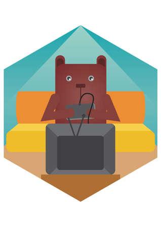 playing video games: bear cartoon playing video games