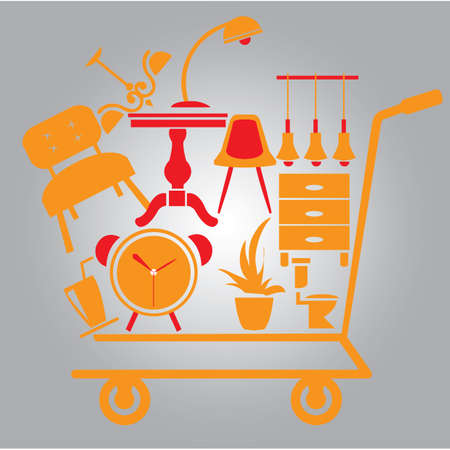 home accessories: shopping cart with home accessories