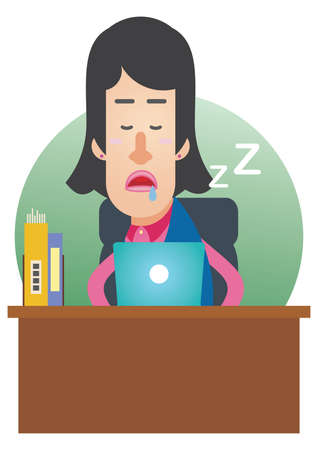 off on: woman dozed off at work Illustration
