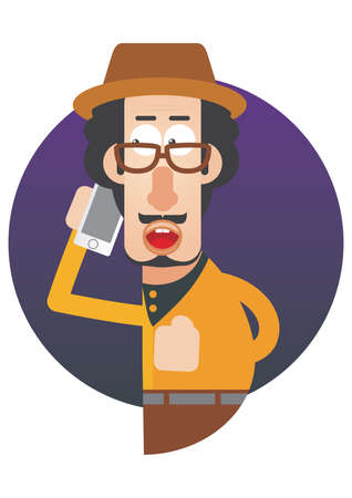 mobilephones: man talking over the phone Illustration