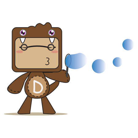 air bubbles: boy blowing air bubbles Illustration