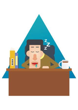 drool: man fallen asleep on his desk