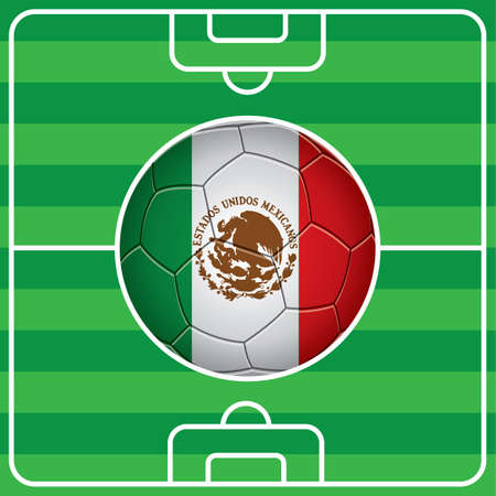 bandera de mexico: bal�n de f�tbol con la bandera mexicana en el campo Vectores