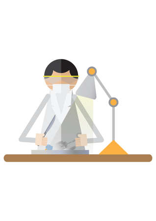 dissect: scientist ready to dissect bird sample Illustration