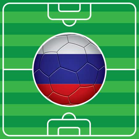 bandera rusia: bal�n de f�tbol con la bandera de Rusia en el campo