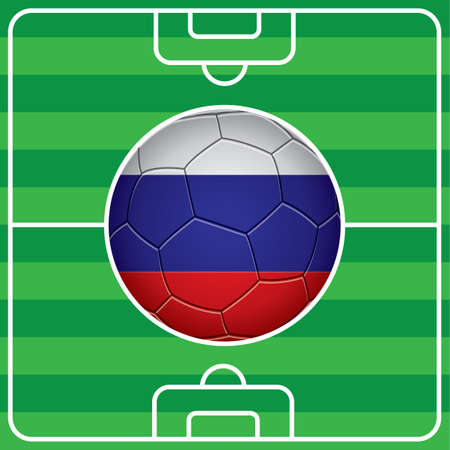 russia flag: soccer ball with russia flag on field