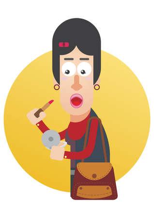 pout: woman pouting lips to apply lipstick