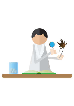 specimen: scientist examining specimen with magnifying glass Illustration