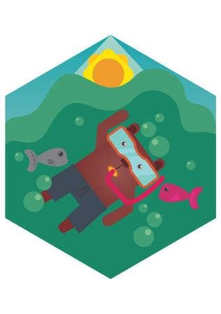 snorkeling: bear cartoon snorkeling Illustration