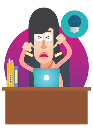 stressed out: woman stressed out at work