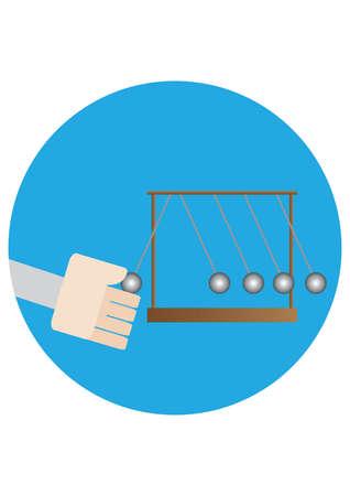 kinetic: hand pulling the kinetic ball Illustration
