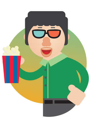 3d glasses: man with 3d glasses and popcorn