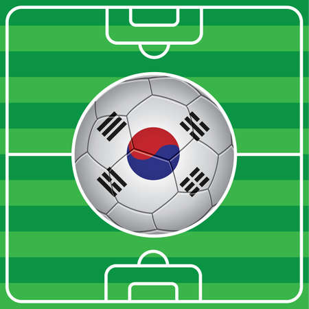 korea flag: soccer ball with south korea flag on field Illustration