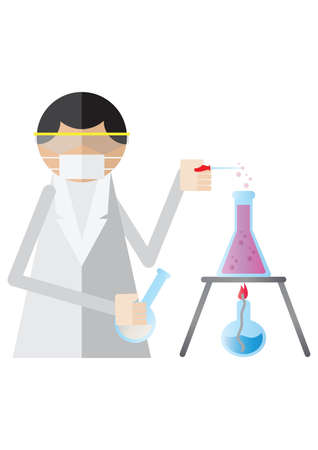 bunsen burner: scientist using a pipette to drip solution into beaker