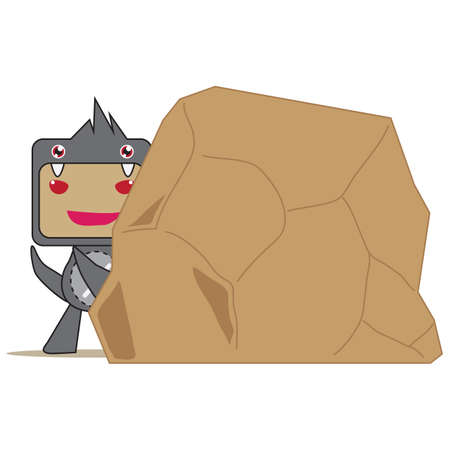 hiding: boy hiding behind rock Illustration