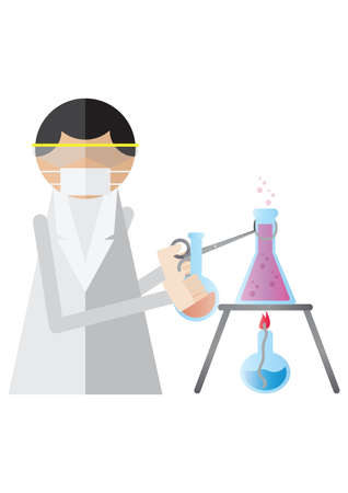 bunsen burner: scientist holding chemistry beaker with tongs Illustration