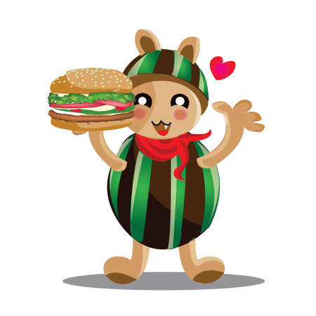 loves: animal cartoon loves burger