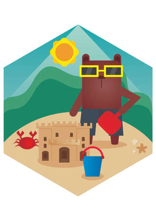 sandcastles: bear cartoon building sandcastles Illustration