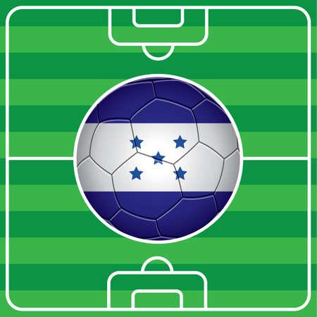 honduras: soccer ball with honduras flag on field