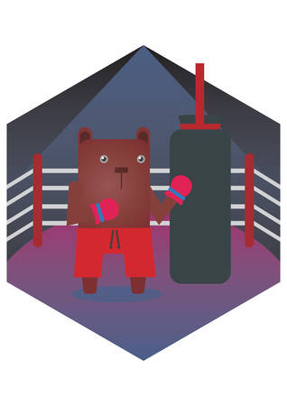 punching bag: bear cartoon punching the punching bag