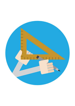 drafting: hands holding pencil and drafting ruler Illustration
