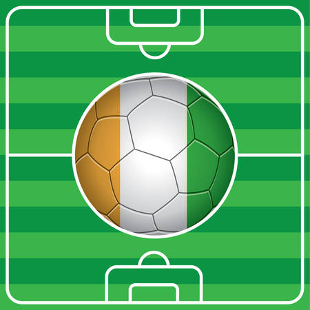 soccer field: soccer ball with ivory coast flag on field