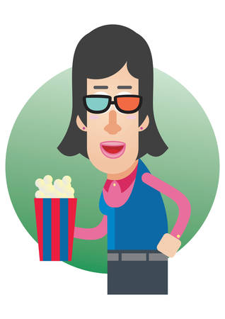 3d glasses: woman with 3d glasses and popcorn Illustration