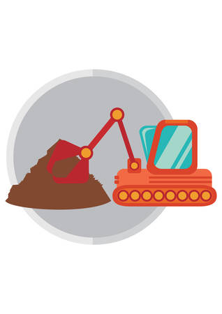 crawler: crawler excavator and sand Illustration