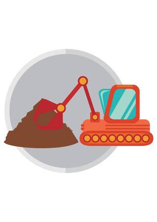 crawler: crawler excavator and sand Illustration