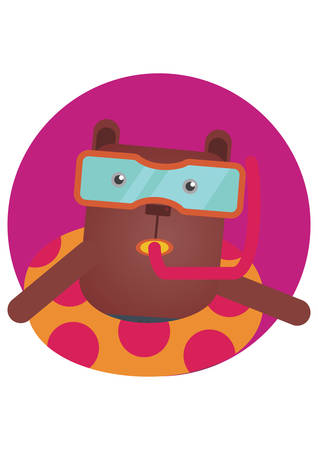 float tube: bear cartoon with float Illustration