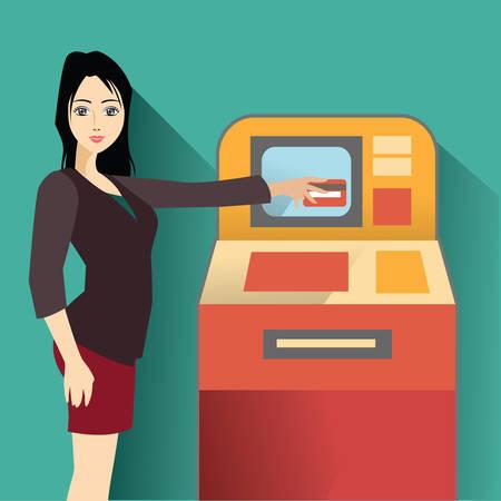 woman credit card: woman using atm machine