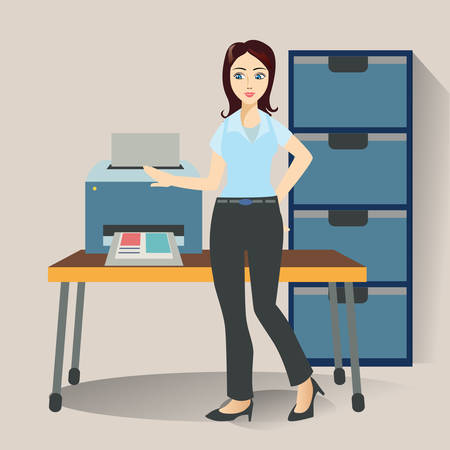 working office: woman working in office