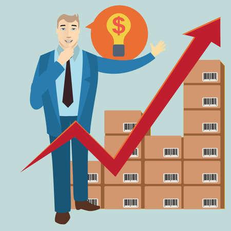 stock: businessman with stock arrow