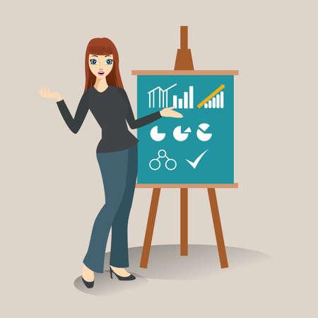 flip chart: businesswoman explaining on flip chart