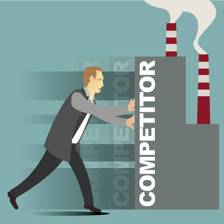 competitor: businessman shifting its competitor Illustration