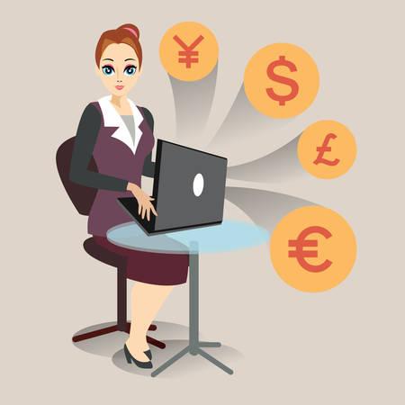 making money: businesswoman making money