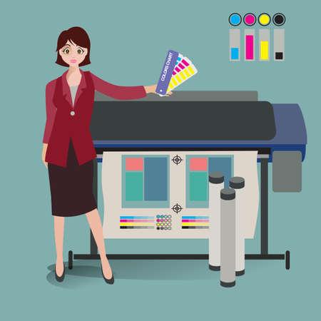 printing machine: businesswoman with the printing machine