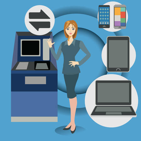 data transfer: businesswoman with gadgets and data transfer icon