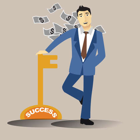 success key: businessman with success key
