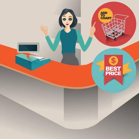 cashier: woman cashier Illustration
