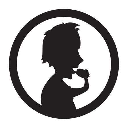 eating burger: silhouette of man eating burger Illustration