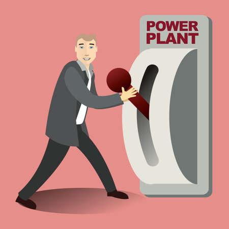 palanca: Hombre que sostiene la palanca de la planta de energía