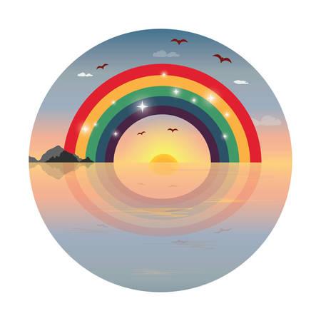 horizons: rainbow over the horizons Illustration