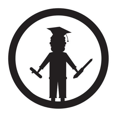 mortarboard: silhouette of man wearing mortarboard