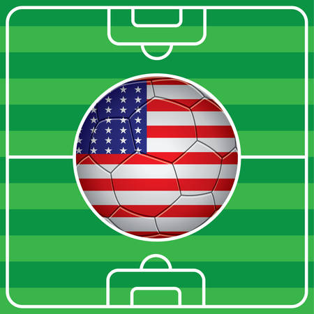 soccer field: soccer ball with american flag on field