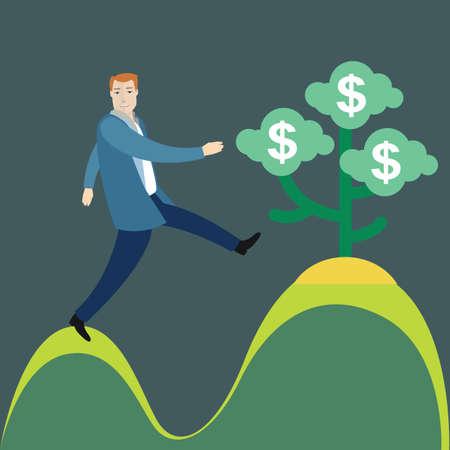 money plant: businessman climbing towards money plant